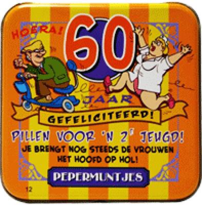 Iets Nieuws pepermunt in blikje 60 jaar man | Feestartikelen feestreus.nl &BB42